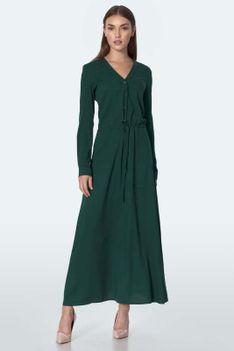 Zielona Sukienka Maxi z Dekoltem V Zapinanym na Guziki