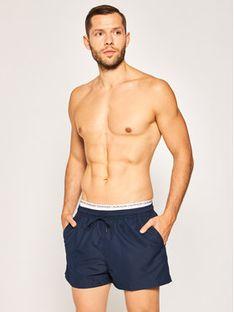 Calvin Klein Swimwear Szorty kąpielowe Double WB KM0KM00438 Granatowy Regular Fit