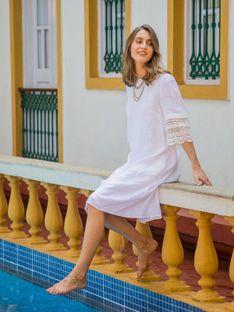 Lniana sukienka z koronkowymi rękawami L`AF ALISA
