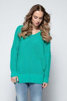 Zielony Oversizowy Sweter z Dekoltem V