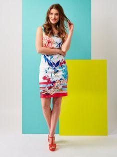 Dopasowana sukienka w kolorowe kwiaty Smashed Lemon 20130