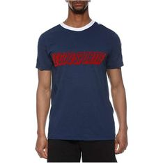 T-shirt męski Le Coq Sportif niebieski na wiosnę