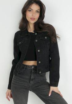 Krótka, jeansowa kurtka z przetarciami