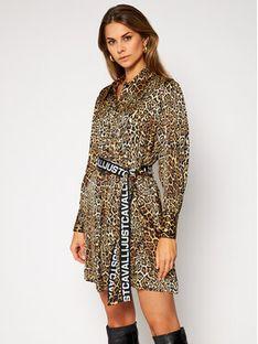 Just Cavalli Sukienka koszulowa S02CT1060 Brązowy Regular Fit