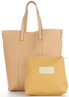 Vittoria Gotti Uniwersalne Torebki Skórzane do noszenia na co dzień Firmowy Shopper Made in Italy w rozmiarze XL z Kosmetyczką Ziemisty (kolory)