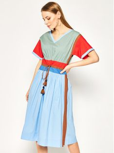 Tory Burch Sukienka codzienna Color-Block Poplin 63610 Kolorowy Regular Fit