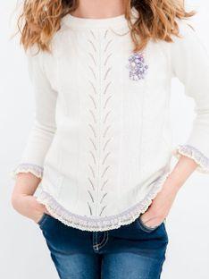 Biały sweter dziecięcy z koronką Anima by Justyna Steczkowska
