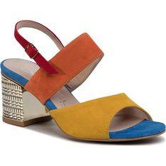 Sandały damskie Oleksy skórzane eleganckie na średnim obcasie