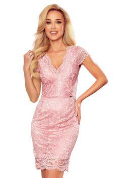 Koronkowa Sukienka z Kobiecym Dekoltem V -Różowa