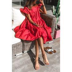 Sukienka IVET czerwona na plażę oversize