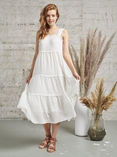 Biała luźna sukienka Smashed Lemon 21160-000