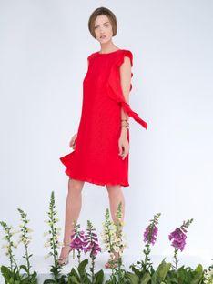 Plisowana czerwona sukienka z ozdobną falbaną Potis & Verso VINO