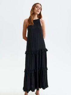Długa sukienka z falbanami i dekoltem typu halter