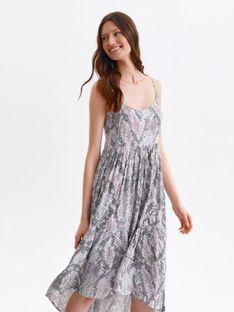 Sukienka midi na ramiączkach, w wężowy nadruk