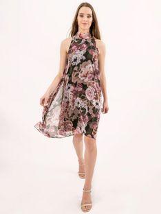 Zwiewna sukienka w kwiaty z asymetrycznym dołem Bialcon