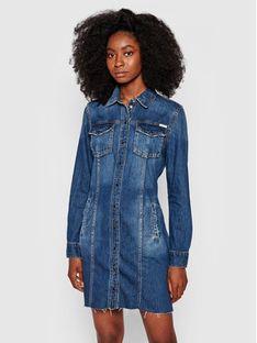 Guess Sukienka jeansowa Velvet W1YK74 D32Q6 Granatowy Regular Fit
