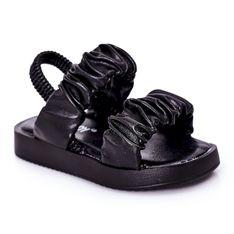 FR1 Dziecięce Sandały Ze Ściągaczem Czarne Sweetness