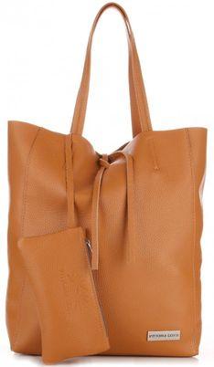 Torebki Skórzane VITTORIA GOTTI Modny Shopperbag z Etui Rudy (kolory)