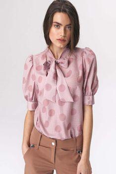 Różowa Romantyczna Wzorzysta Bluzka z Wiązaną Szarfą