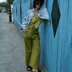 Reserved - Szerokie spodnie garniturowe - Zielony