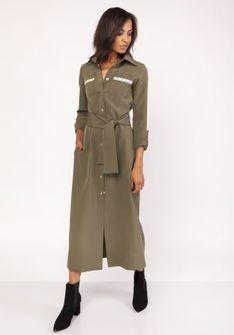 Khaki Długa Koszulowa Sukienka z Militarnym Akcentem