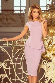 Elegancka Ołówkowa Sukienka Midi z Asymetryczną Baskinką - Różowa