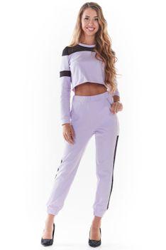 Dresowe Spodnie z Siateczkowym Panelem - Purpurowe