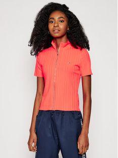 Tommy Jeans Bluzka Tjw Rib Zip Thru DW0DW09780 Różowy Slim Fit