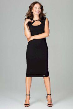 Czarna Klasyczna Ołówkowa Sukienka Midi z Ozdobnym Dekoltem