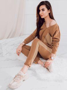 Komplet damski bluza + spodnie 011ZLR - ciemnobeżowy