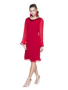 Czerwona sukienka z cekinami L`AF SA GREIS
