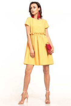 Żółta Letnia Wygodna Sukienka z Marszczonym Dołem