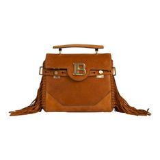 Mahoniowa zamszowa torebka na ramię 'B-Buzz 23' z frędzlami
