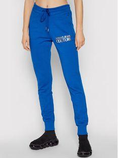 Versace Jeans Couture Spodnie dresowe Logo Foil 71HAAT04 Niebieski Regular Fit