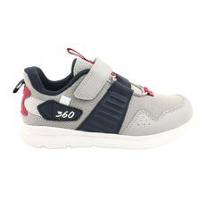 Buty sportowe wkładka skóra American Club AA06 czerwone granatowe szare