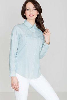 Bawełniana Klasyczna Koszula na Zatrzaski - Niebieski