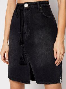 One Teaspoon Spódnica jeansowa Trucker 23671 Czarny Regular Fit