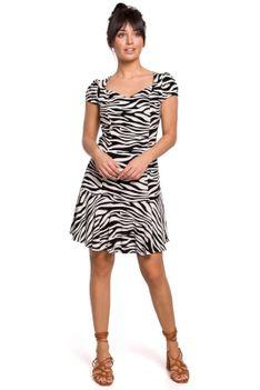 Wzorzysta Sukienka z Dekoltem w Serce - Biało Czarna