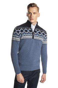 Niebieski sweter ze stójką z zamkiem Recman NORDEN