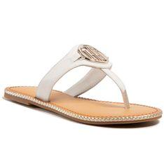 Japonki TOMMY HILFIGER - Essential Leather Flat Sandal FW0FW05620 Ecru YBL