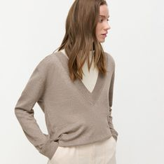 Reserved - UNISEX Lekki sweter z EcoVero™ - Brązowy