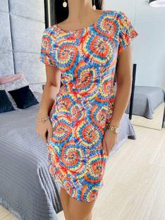 Wzorzysta Sukienka z Pomarańczowym 5824-29-B