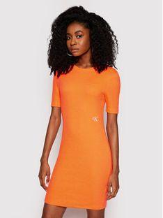 Calvin Klein Jeans Sukienka dzianinowa J20J215679 Pomarańczowy Slim Fit