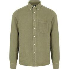 Koszula męska J.Lindeberg z kołnierzykiem button down zielona jesienna z lnu casual z długim rękawem