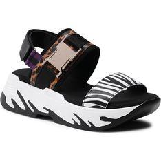 Sandały damskie Keddo na platformie z tworzywa sztucznego czarne z klamrą