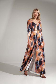 Maxi Sukienka z Geometrycznym Wzorem