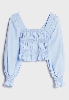 Bershka - Bluzka z długim rękawem - jasnoniebieski
