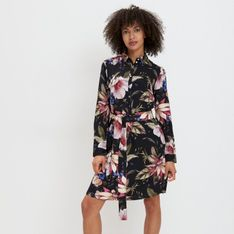 Mohito - Wiskozowa sukienka w kwiaty - Czarny