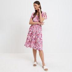 Mohito - Sukienka midi w kwiaty - Beżowy