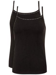 Calvin Klein Underwear Komplet 2 topów Cami 000QS6440E Czarny Regular Fit